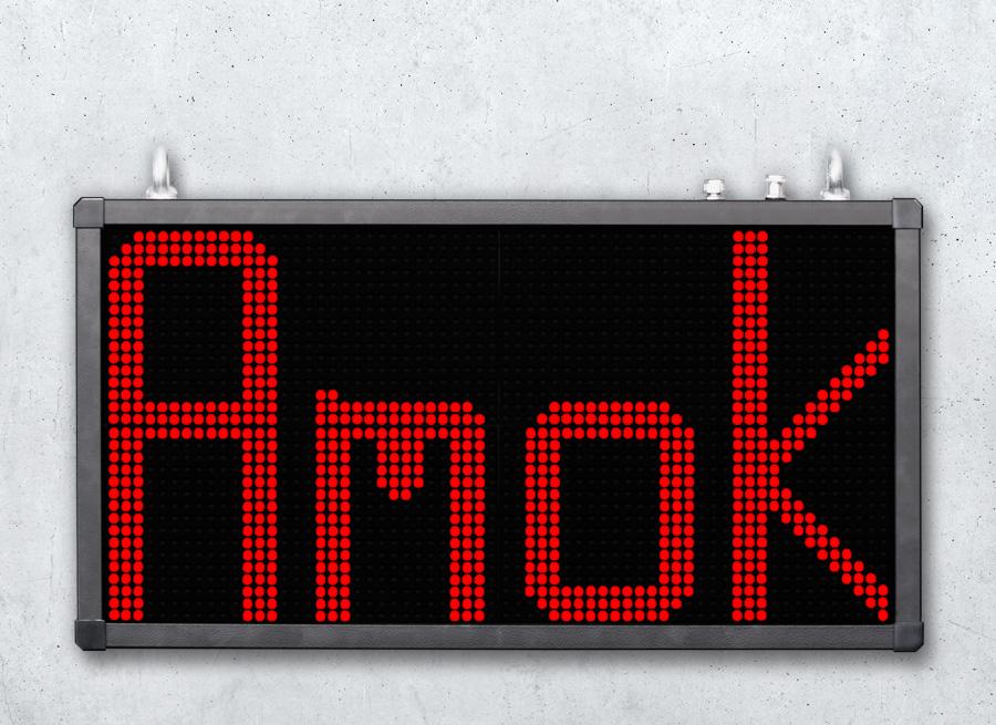 Alphanumerische LED Festtextanzeige zur Statusinformation - LED rot superhell mit 315mm Zeichenhöhe