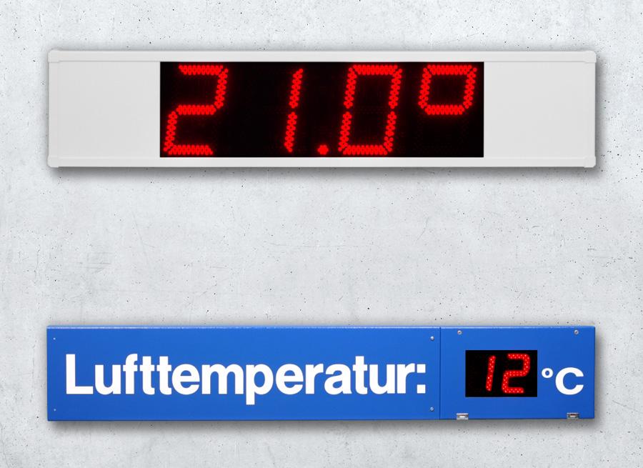 Anzeigen für Lufttemperatur und Aussentemperatur