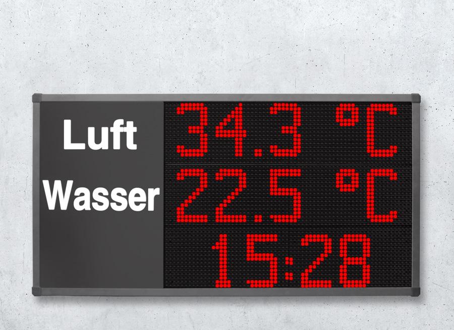Anzeige Lufttemperatur und Wassertemperatur im Schwimmbad mit Uhrzeit Darstellung