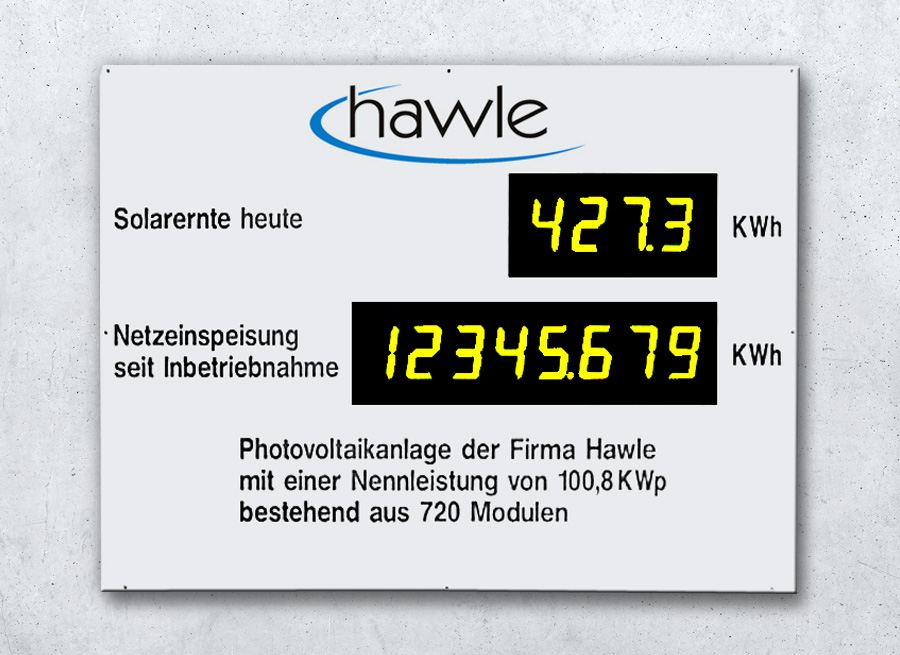 Anzeige Solarernte - Infotafel Photovoltaik-Anlage und Solaranlage