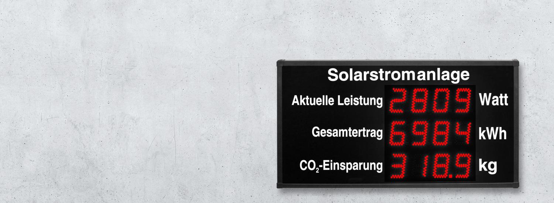 Anzeige Solarstromanlage / Photovoltaik-Anlage, Anzeige Leistung, Ertrag und CO2 Einsparung