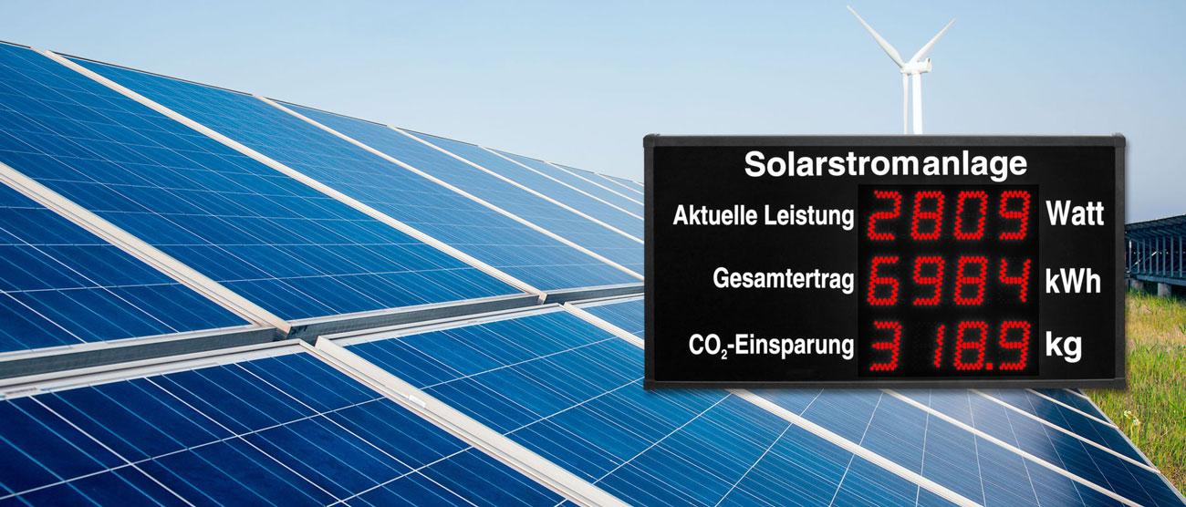 LED Anzeigen für Solarstromanlagen und Windkraftanlagen