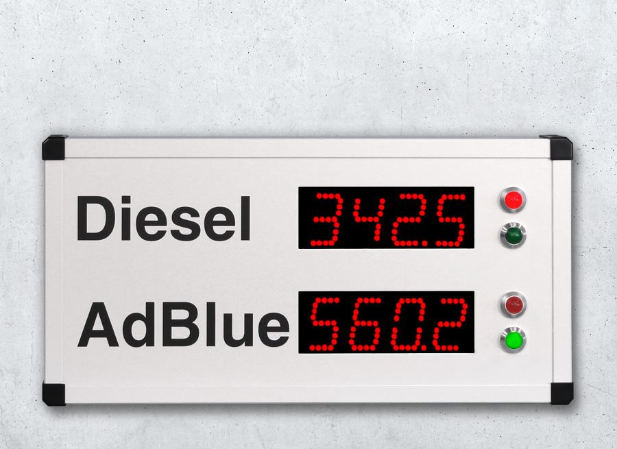 DSA55 Digitale Grossanzeige als Füllstand Anzeige mit Meldeleuchten - LED rot superhell