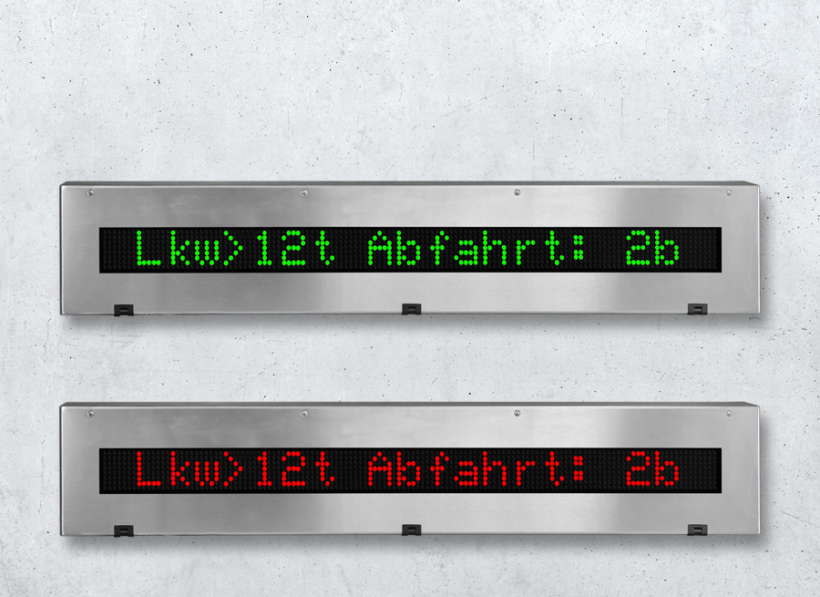 DSA55 Digitale Grosstextanzeige mehrfarbig im Edelstahlgehäuse - LED superhell rot orange grün
