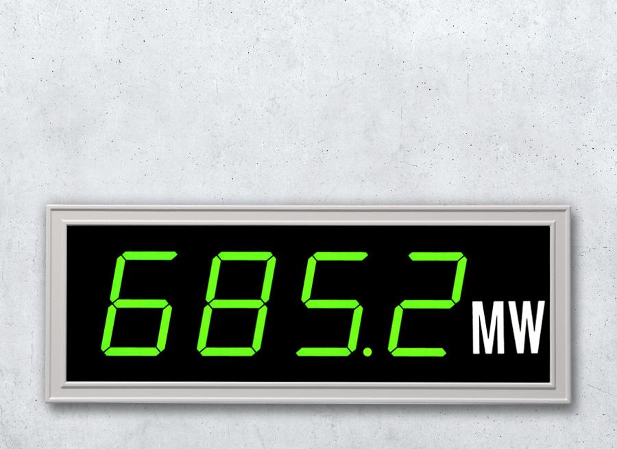 DSA75 Digitale Grossanzeige als Einbauanzeige im Schalttafeleinbaugehäuse