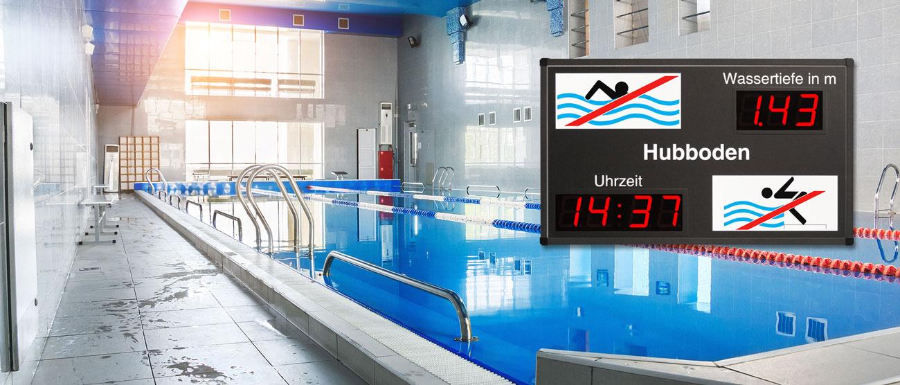 Individuelle LED Grossanzeigen - Schwimmbad Anzeige