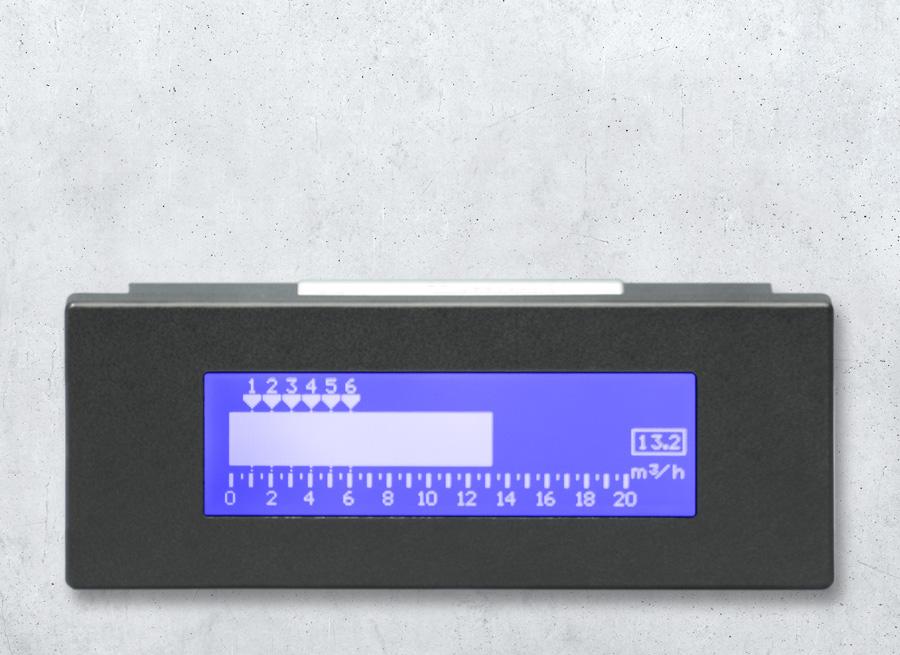 LCD Bargraph Leuchtbandanzeige als  Seilbahn Geschwindigkeitsanzeige mit Hintergrundbeleuchtung