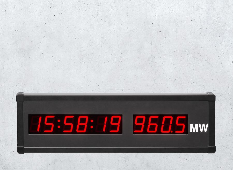 Wechselanzeige für Uhrzeit und Datum mit kombinierter Anzeige von Produktionsdaten
