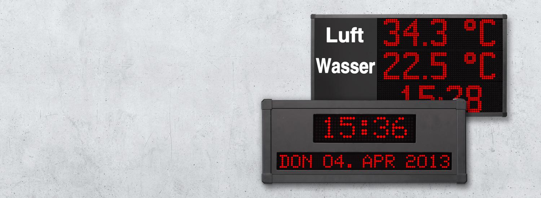 LED Anzeigen für Datum, Uhrzeit und Temperatur