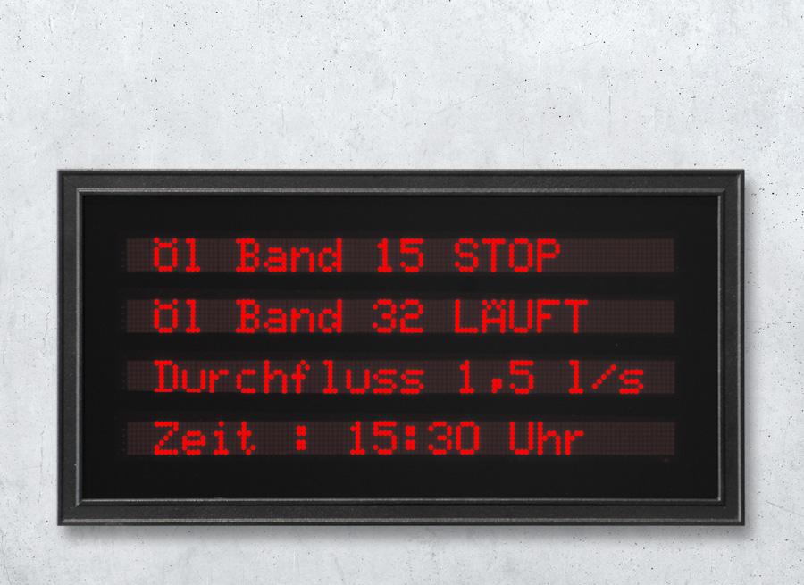LED Text-Einbauanzeige 4-zeilig vierzeilig mit LED rot