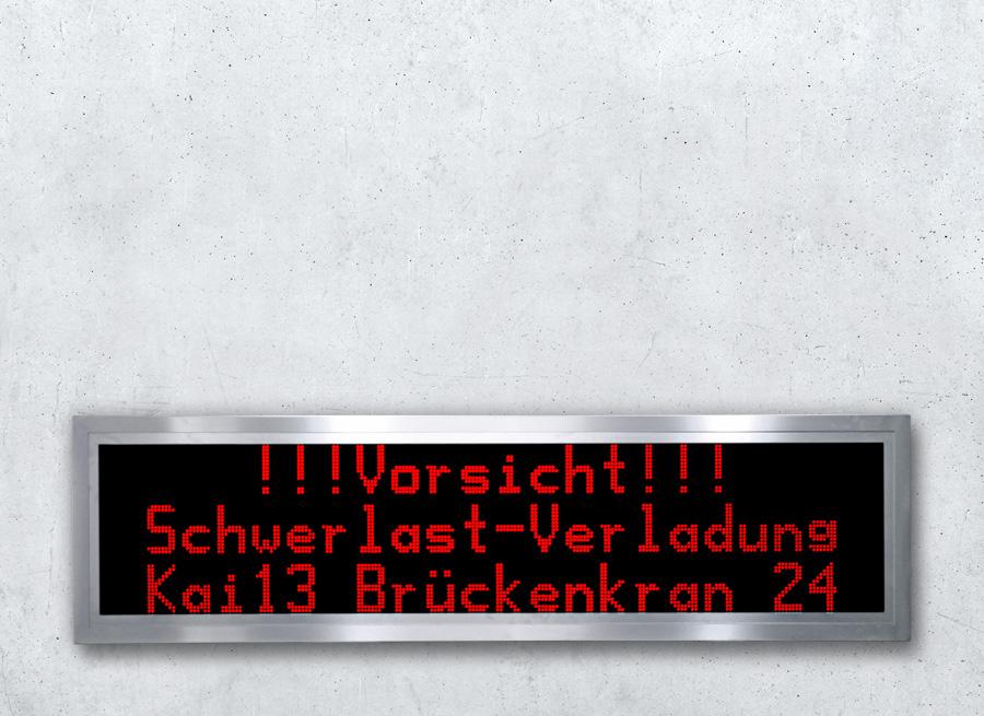 LED Textanzeige dreizeilig im Edelstahl Gehäuse - LED rot