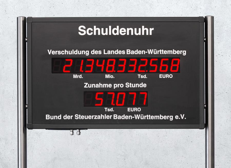 Schuldenuhr Anzeigetafel direkt vom Hersteller