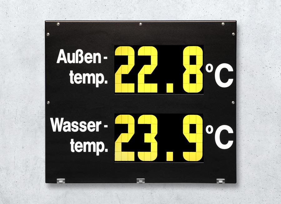 Temperaturanzeige für Wassertemperatur und Aussentemperatur