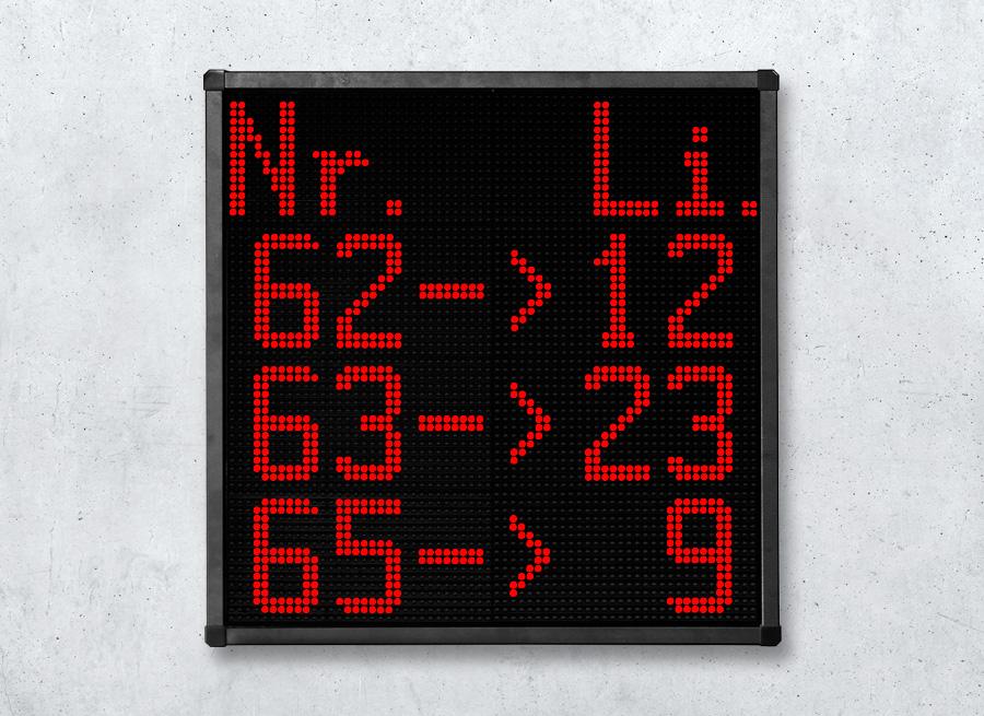 Text-Anzeigetafel | LED Textanzeige vierzeilig - LED rot superhell
