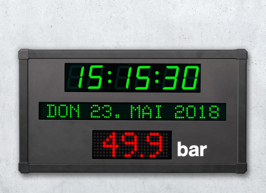 Anzeige Uhrzeit und Datum kombiniert mit Produktionsdaten Display