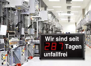 Unfallfreie Tage Anzeigen Arbeitsschutz LED Anzeigen