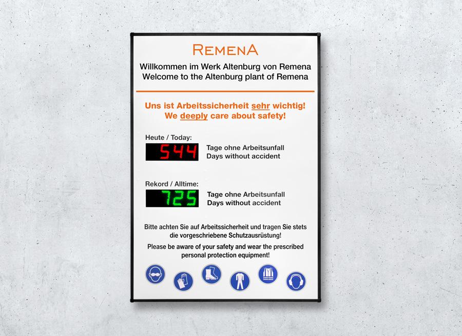 Arbeitsschutz Anzeigetafel mit Unfallfrei-Tage-LED-Anzeige