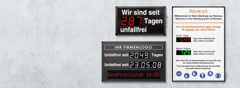 Unfallfreie-Tage-Anzeige und Arbeitsschutz-Anzeige LED Digital