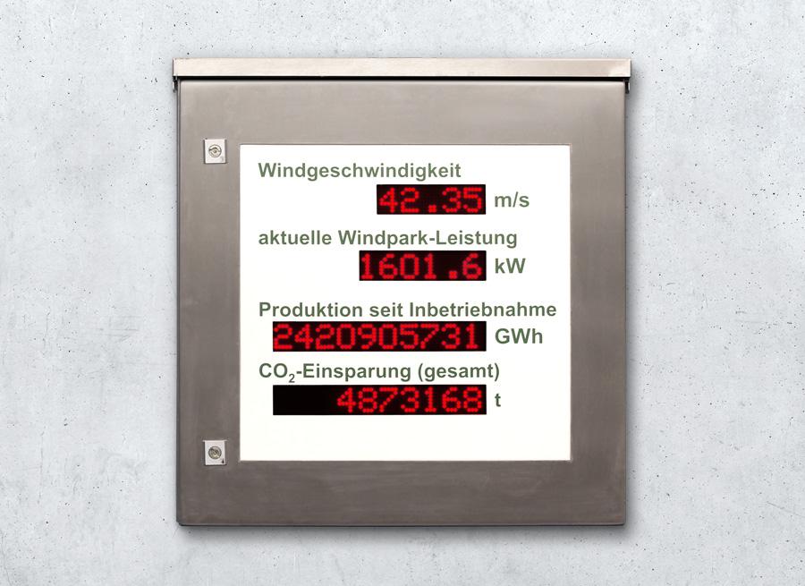 Windpark und Windrad LED Info-Anzeige Anzeigetafel